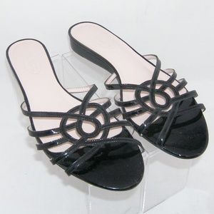Talbots black patent leather strappy slides 9.5AA
